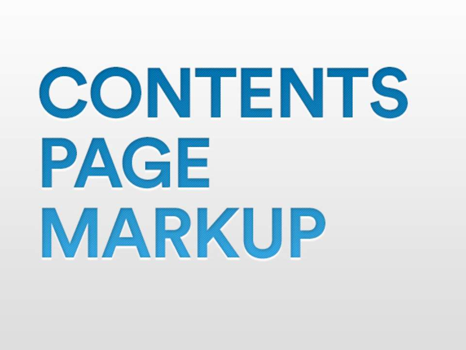 Contents page markup