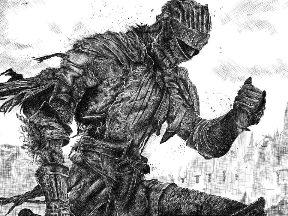Dark Souls 3 cover drawing