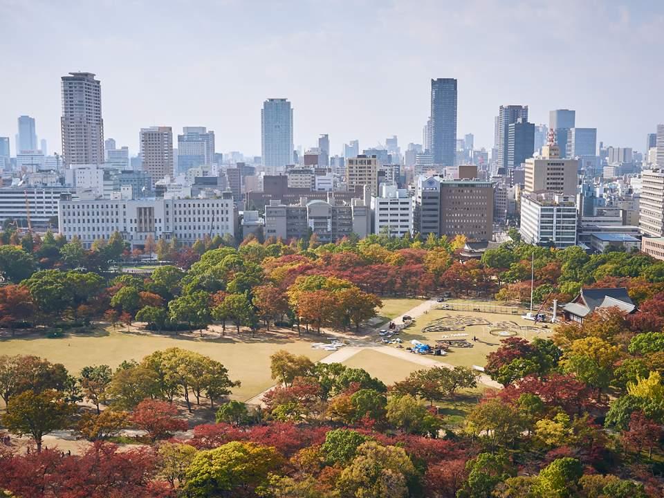 오사카성에서 본 도시의 모습