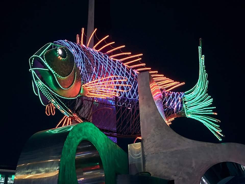 밤에서 볼 수 있는 광안리 회센터의 상징